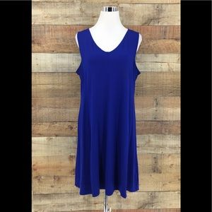 Eileen Fisher Women's Blue Flowy Tank Dress Large